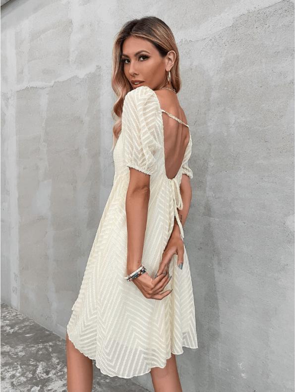Secret Wish Boutique Sukienka Ecru z Krótkim Rękawem Za Kolano Mini Maxi (2)