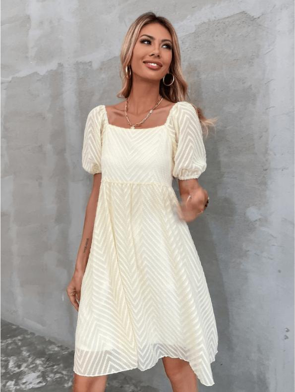 Secret Wish Boutique Sukienka Ecru z Krótkim Rękawem Za Kolano Mini Maxi (3)
