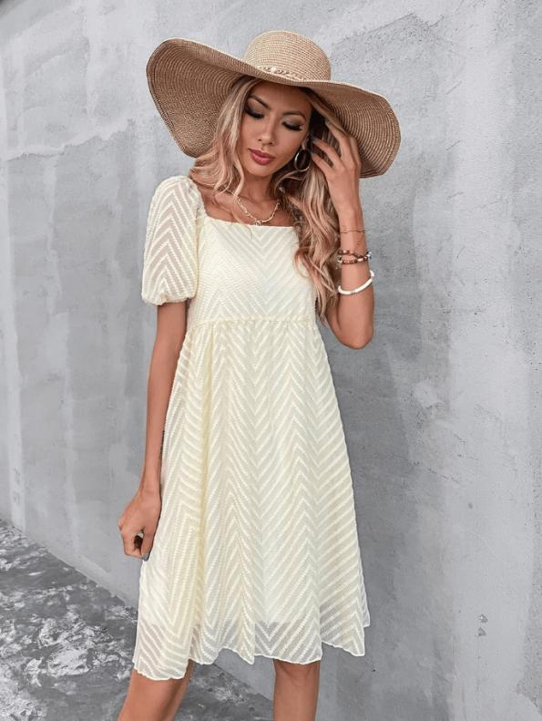 Secret Wish Boutique Sukienka Ecru z Krótkim Rękawem Za Kolano Mini Maxi (4)