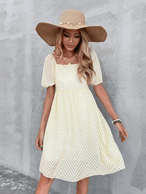 Secret Wish Boutique Sukienka Ecru z Krótkim Rękawem Za Kolano Mini Maxi (5)