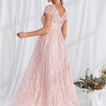 Secret Wish Boutique Sukienka Koronkowa Delikatny Róż z Krótkim Rękawem w Serek Maxi (2)