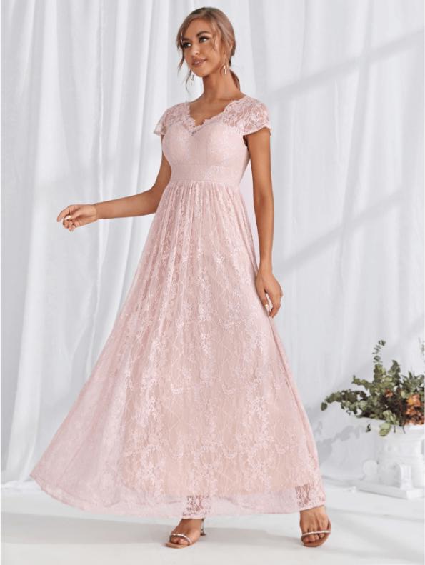 Secret Wish Boutique Sukienka Koronkowa Delikatny Róż z Krótkim Rękawem w Serek Maxi (4)