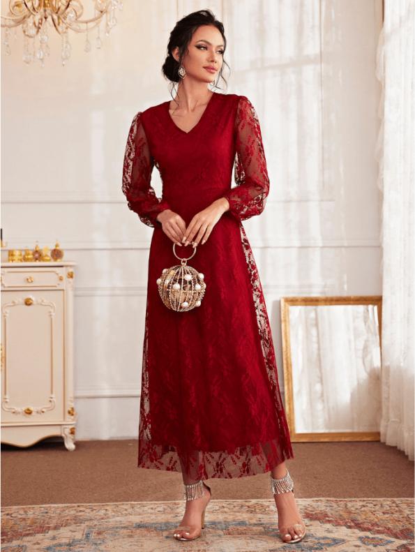 Secret Wish Boutique Sukienka Koronkowa Wizytowa Koktajlowa z Długim Rękawem Maxi (2)