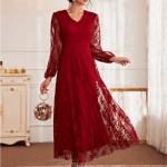 Secret Wish Boutique Sukienka Koronkowa Wizytowa Koktajlowa z Długim Rękawem Maxi (3)