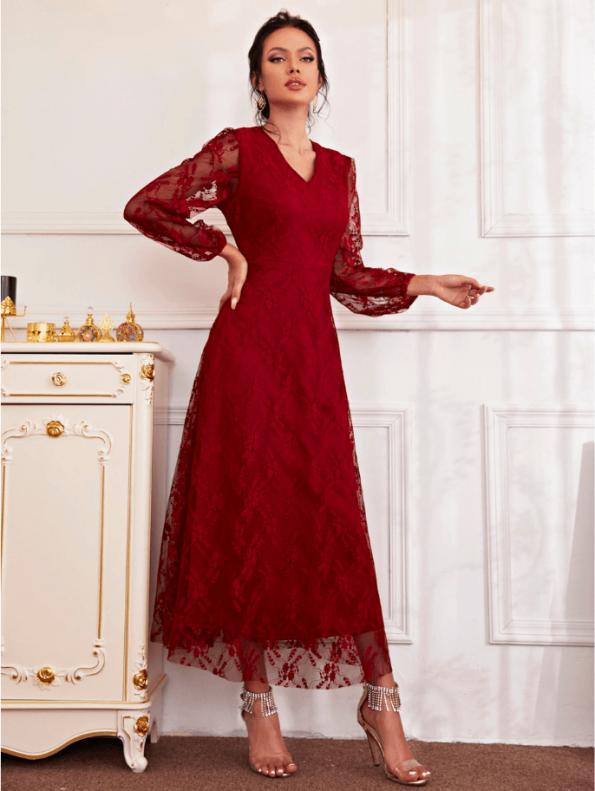 Secret Wish Boutique Sukienka Koronkowa Wizytowa Koktajlowa z Długim Rękawem Maxi (4)