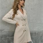 Secret Wish Boutique Sukienka Marynarka Beżowa z Długim Rękawem Mini (4)