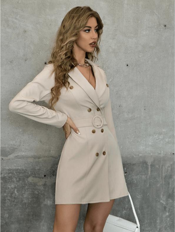 Secret Wish Boutique Sukienka Marynarka Beżowa z Długim Rękawem Mini (1)