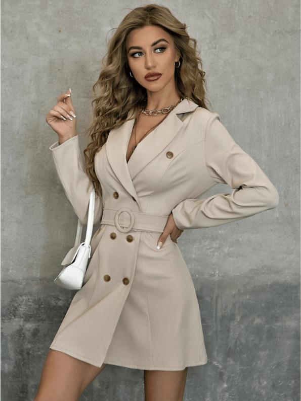 Secret Wish Boutique Sukienka Marynarka Beżowa z Długim Rękawem Mini (2)