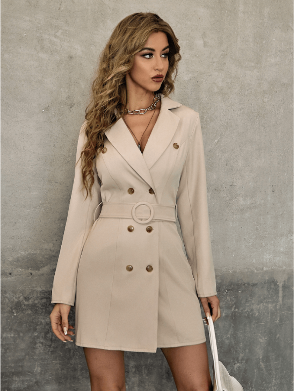 Secret Wish Boutique Sukienka Marynarka Beżowa z Długim Rękawem Mini (3)