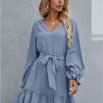 Secret Wish Boutique Sukienka Niebieska Błękitna Falbanka z Długim Rękawem Przewiązywana w Pasie (1)