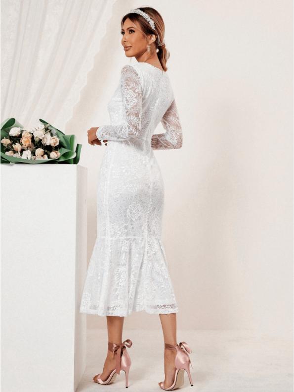 Secret Wish Boutique Suknia Ślubna Biała Koronkowa z Długim Rękawem Midi