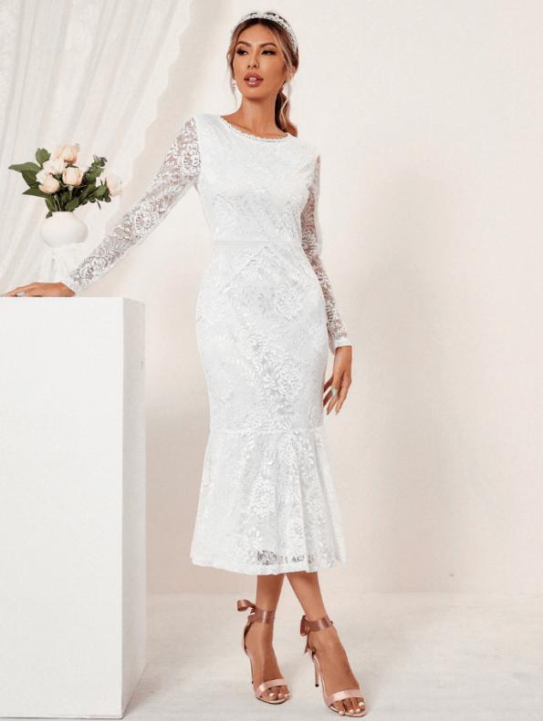 Secret Wish Boutique Suknia Ślubna Biała Koronkowa z Długim Rękawem Midi (1)