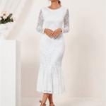 Secret Wish Boutique Suknia Ślubna Biała Koronkowa z Długim Rękawem Midi (6)