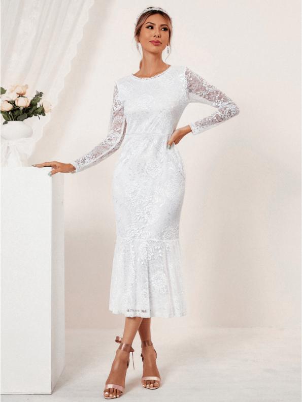 Secret Wish Boutique Suknia Ślubna Biała Koronkowa z Długim Rękawem Midi (3)
