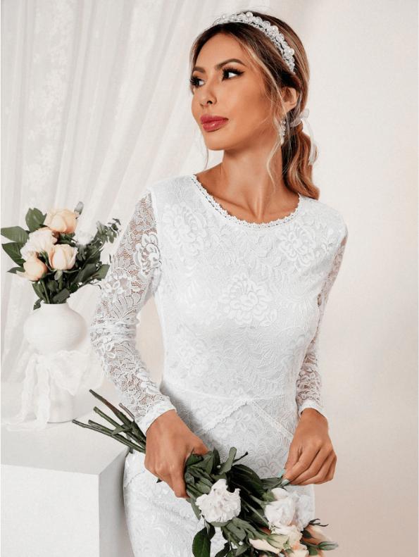 Secret Wish Boutique Suknia Ślubna Biała Koronkowa z Długim Rękawem Midi (4)