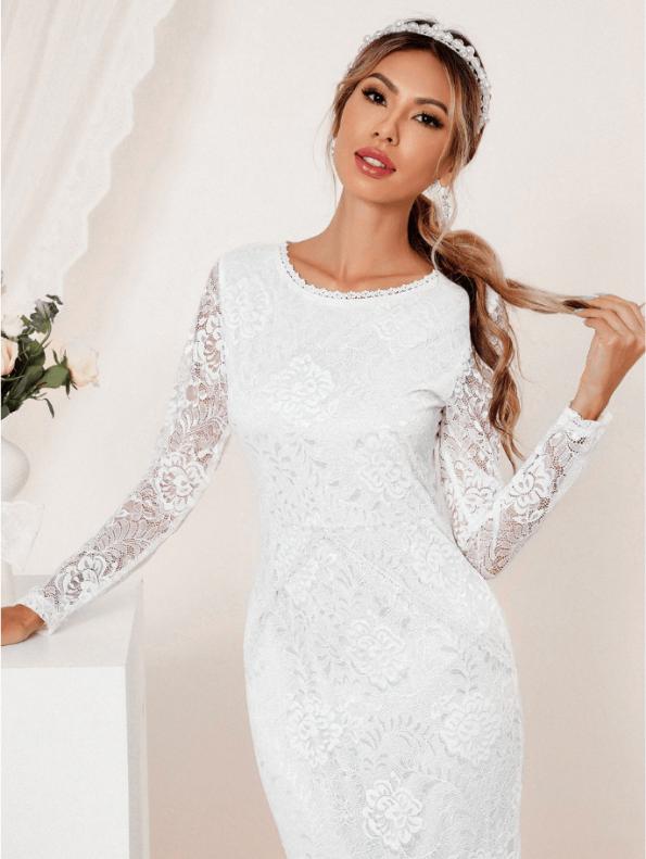 Secret Wish Boutique Suknia Ślubna Biała Koronkowa z Długim Rękawem Midi (5)