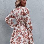 Secret Wish Boutique sukienka Biała w Pomarańczowe Kwiaty Falbanka Mini (5)