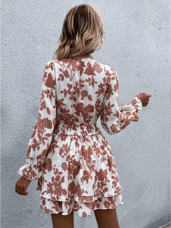 Secret Wish Boutique sukienka Biała w Pomarańczowe Kwiaty Falbanka Mini (4)