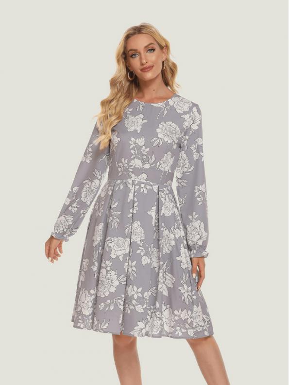 Secret Wish Boutique Sukienka Szara w Białe Kwiaty z Długim Rękawem10