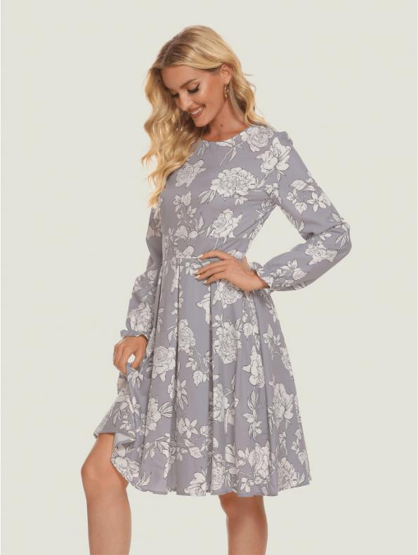 Secret Wish Boutique Sukienka Szara w Białe Kwiaty z Długim Rękawem11