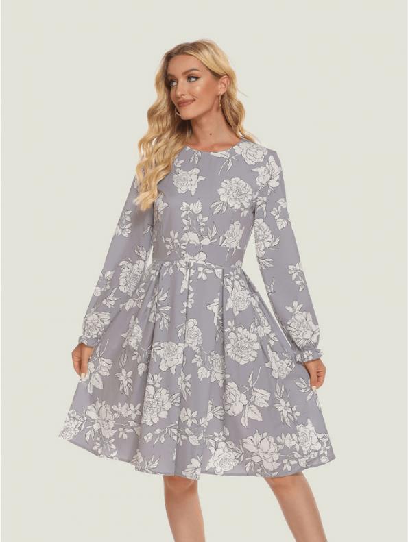 Secret Wish Boutique Sukienka Szara w Białe Kwiaty z Długim Rękawem12