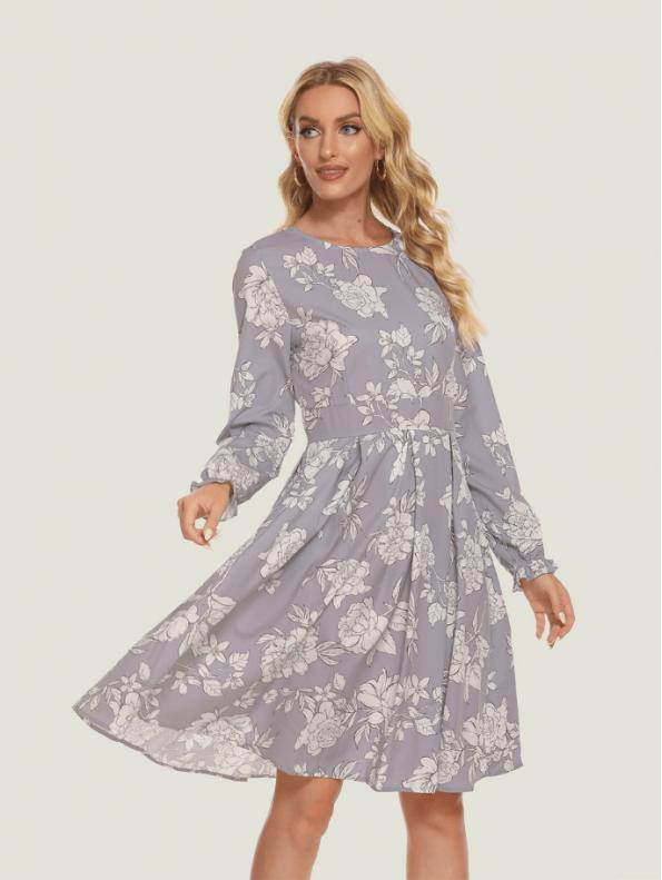 Secret Wish Boutique Sukienka Szara w Białe Kwiaty z Długim Rękawem5