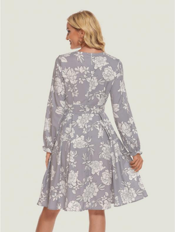 Secret Wish Boutique Sukienka Szara w Białe Kwiaty z Długim Rękawem6