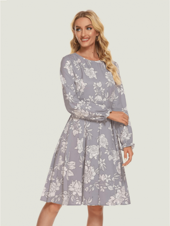 Secret Wish Boutique Sukienka Szara w Białe Kwiaty z Długim Rękawem7