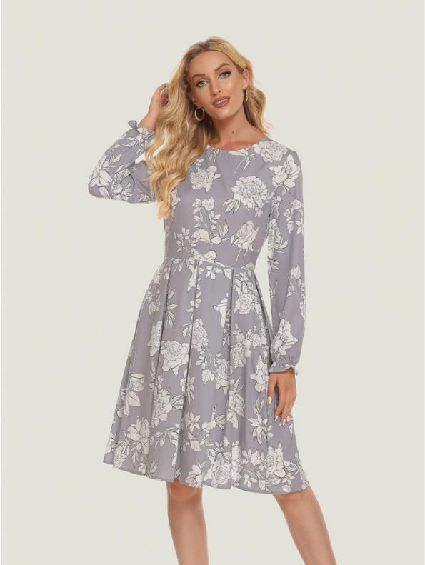 Secret Wish Boutique Sukienka Szara w Białe Kwiaty z Długim Rękawem8