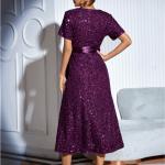 Secret Wish Boutique Sukienka w Cekiny z Krótkim Rękawem z Odsłoniętym Dekoltem Midi38