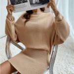 Secret Wish Boutique Sukienka Falbany Odsłonięty Dekolt z Długim Rękawem Mini Przed Kolano-26