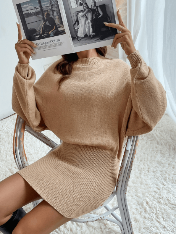 Secret Wish Boutique Sukienka Falbany Odsłonięty Dekolt z Długim Rękawem Mini Przed Kolano-20