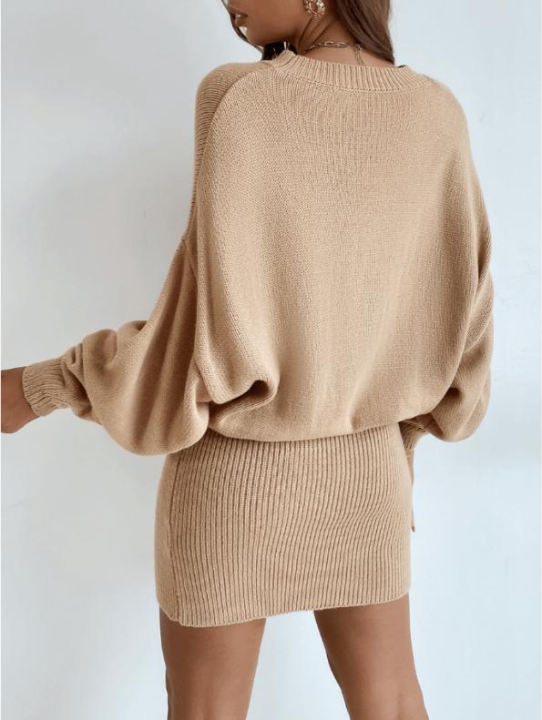 Secret Wish Boutique Sukienka Falbany Odsłonięty Dekolt z Długim Rękawem Mini Przed Kolano-21