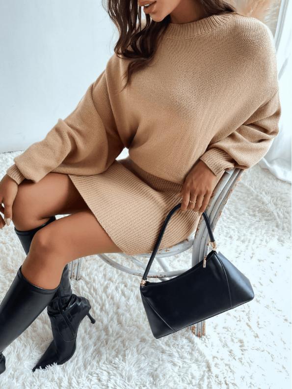 Secret Wish Boutique Sukienka Falbany Odsłonięty Dekolt z Długim Rękawem Mini Przed Kolano-22
