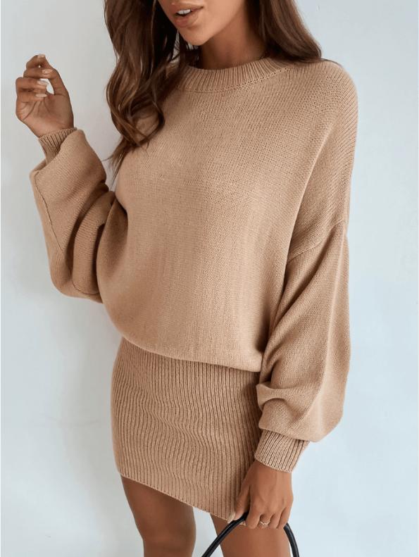 Secret Wish Boutique Sukienka Falbany Odsłonięty Dekolt z Długim Rękawem Mini Przed Kolano-25