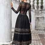 Secret Wish Boutique Sukienka Falbany Odsłonięty Dekolt z Długim Rękawem Mini Przed Kolano-75