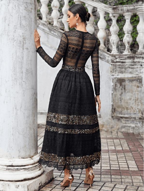 Secret Wish Boutique Sukienka Falbany Odsłonięty Dekolt z Długim Rękawem Mini Przed Kolano-72