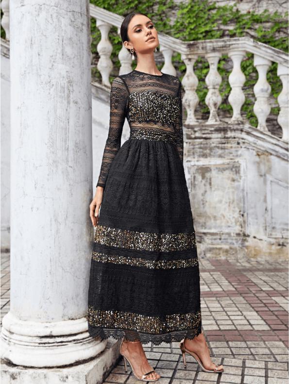 Secret Wish Boutique Sukienka Falbany Odsłonięty Dekolt z Długim Rękawem Mini Przed Kolano-74